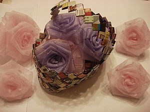Бумажная корзинка | Ярмарка Мастеров - ручная работа, handmade