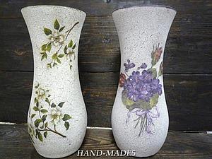 Декупаж стеклянной вазы+Кракелюр - две техники за 1 занятие!   Ярмарка Мастеров - ручная работа, handmade