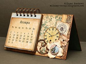Календарь в технике скрапбукинг | Ярмарка Мастеров - ручная работа, handmade