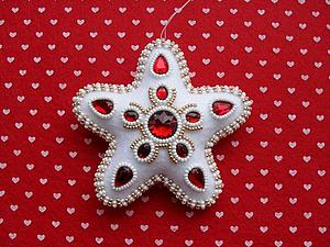 """Шьем ёлочную игрушку: звездочка с """"алмазиками"""" из фетра. Ярмарка Мастеров - ручная работа, handmade."""