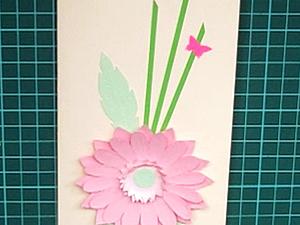 Видео мастер-класс: открытка с герберой в технике бумагопластики. Ярмарка Мастеров - ручная работа, handmade.