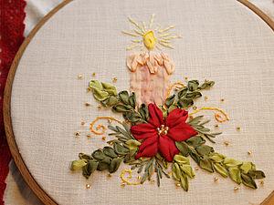 Вышиваем лентами рождественскую композицию. Ярмарка Мастеров - ручная работа, handmade.