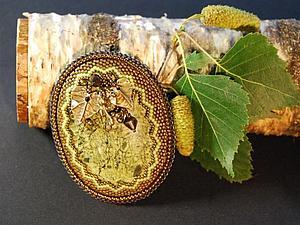 Оформление зубчатого края при обшивке кабошона бисером. Ярмарка Мастеров - ручная работа, handmade.