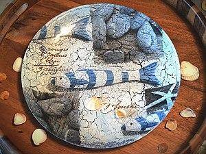 Обратный декупаж. Декор тарелки. Ярмарка Мастеров - ручная работа, handmade.