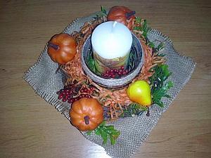 Создание осенней композиции с плетеным веночком и свечой. Ярмарка Мастеров - ручная работа, handmade.