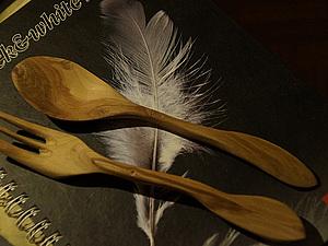 Вилка с ложкой из яблони | Ярмарка Мастеров - ручная работа, handmade