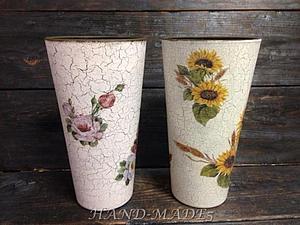 Декупаж стеклянной вазы+Кракелюр - две техники за 1 занятие! | Ярмарка Мастеров - ручная работа, handmade