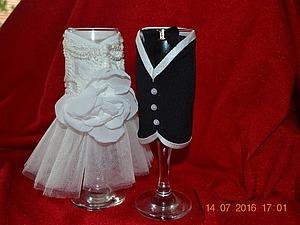 Декорируем свадебные бокалы. Ярмарка Мастеров - ручная работа, handmade.