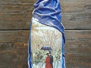 In vino veritas! Декор бутылки - драпировка тканью и декупаж. | Ярмарка Мастеров - ручная работа, handmade