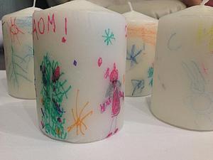 Украшаем свечи детскими рисунками. Ярмарка Мастеров - ручная работа, handmade.