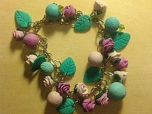 Розовый браслет в пастельных тонах   Ярмарка Мастеров - ручная работа, handmade