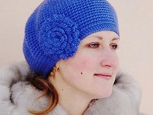 Вязание броши-цветка для шапок и беретов. | Ярмарка Мастеров - ручная работа, handmade