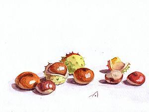 Рисуем каштаны акварелью. Ярмарка Мастеров - ручная работа, handmade.