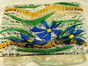 Мастер-класс по фьюзингу для начинающих «Изготовление конфетницы «Синие цветы»  и формы для придания. Ярмарка Мастеров - ручная работа, handmade.