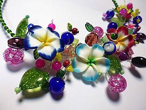 Отчет об МК Фантазийное цветочное колье   Ярмарка Мастеров - ручная работа, handmade