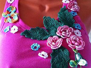 Предлагаю майки для жаркого лета,украшены цветами и бисером   Ярмарка Мастеров - ручная работа, handmade