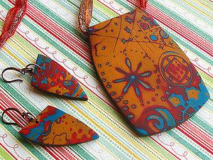 Кулон и серьги из полимерной глины — техника Мокуме Гане   Ярмарка Мастеров - ручная работа, handmade