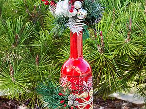 Новогодний декор бутылки | Ярмарка Мастеров - ручная работа, handmade