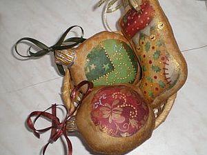 Текстильные украшения на елку   Ярмарка Мастеров - ручная работа, handmade