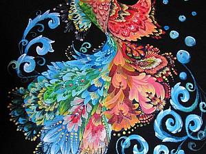 Рисуем рыбку в стиле Петриковской росписи и украшаем стразами Swarovski. Ярмарка Мастеров - ручная работа, handmade.