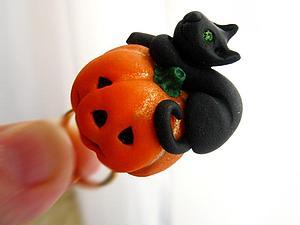 Лепим тыкву и кошечку из полимерной глины. Ярмарка Мастеров - ручная работа, handmade.