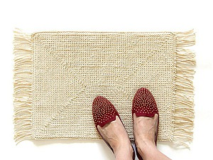 Вяжем по канве уютный коврик | Ярмарка Мастеров - ручная работа, handmade