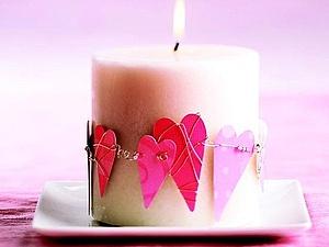 Декорирование свечи ко Дню Святого Валентина | Ярмарка Мастеров - ручная работа, handmade