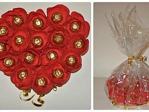 Делаем букет из конфет в форме сердца. Ярмарка Мастеров - ручная работа, handmade.