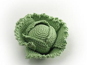 Вяжем крючком миниатюрный кочан капусты. Ярмарка Мастеров - ручная работа, handmade.