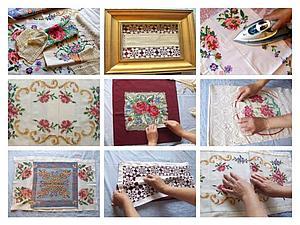 Панно из старых вышивок и кружева | Ярмарка Мастеров - ручная работа, handmade