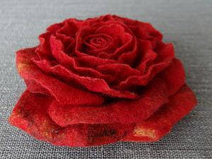Шерстяная роза. handmade