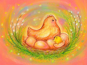 Рисуем пастелью волшебное пасхальное гнездышко. Ярмарка Мастеров - ручная работа, handmade.