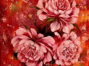 Аукцион картины Пионы   Ярмарка Мастеров - ручная работа, handmade
