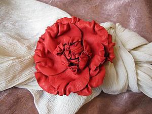 Работа с натуральной кожей: фантазийные цветы   Ярмарка Мастеров - ручная работа, handmade