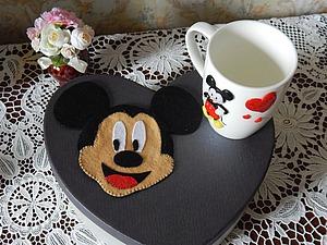 Чашки декорированные полимерной глиной. Микки и Минни Маус | Ярмарка Мастеров - ручная работа, handmade