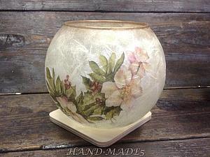 Эффект матового стекла - вазы, баночки, кувшины, стаканы! Декупаж рисовой бумагой | Ярмарка Мастеров - ручная работа, handmade