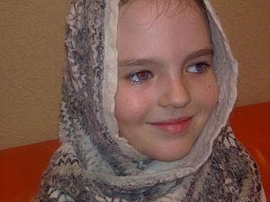 Нуно-шарфик из шерсти альпака и обычного шифона | Ярмарка Мастеров - ручная работа, handmade