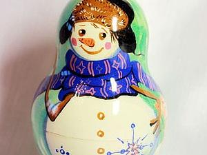 Мастер-класс: роспись новогодней матрёшки-снеговика. Ярмарка Мастеров - ручная работа, handmade.