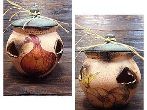 Горшочек для чеснока и лука - декупаж и состаривание керамики! | Ярмарка Мастеров - ручная работа, handmade