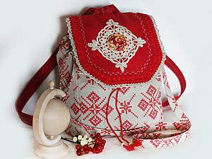 Шьем льняную сумку-рюкзак в русском стиле. Ярмарка Мастеров - ручная работа, handmade.