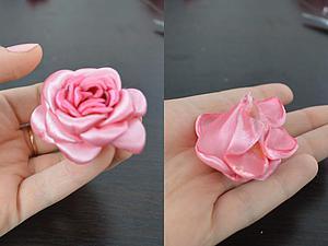 Делаем цветок из атласных лент. Ярмарка Мастеров - ручная работа, handmade.