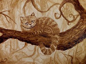 Видео мастер-класс: рисуем Чеширского Кота кофейной краской. Ярмарка Мастеров - ручная работа, handmade.