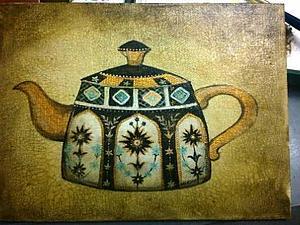 Рисование и состаривание чайника на холсте. Ярмарка Мастеров - ручная работа, handmade.