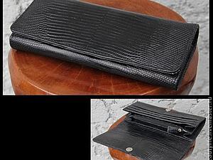 Аукцион с нуля к 8 марта! Женский кошелек из натуральной кожи варана | Ярмарка Мастеров - ручная работа, handmade