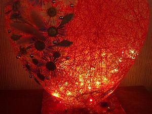 """Светильник-ночник """"Сердце"""" (""""Шар"""") из ниток. Ярмарка Мастеров - ручная работа, handmade."""