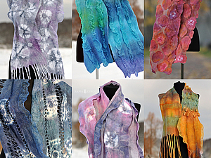 Мастер-класс художника – дизайнера  Саши Гирос «Создание белого нуно-войлочного шарфа  с 3-D э | Ярмарка Мастеров - ручная работа, handmade