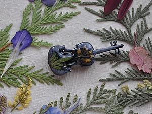 Создаем брошь «Скрипка» с композицией из цветов. Ярмарка Мастеров - ручная работа, handmade.