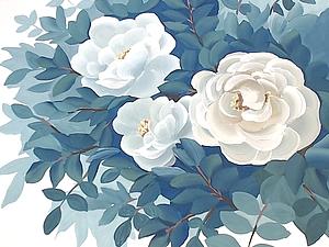 Белый шиповник двойным мазком. Ярмарка Мастеров - ручная работа, handmade.