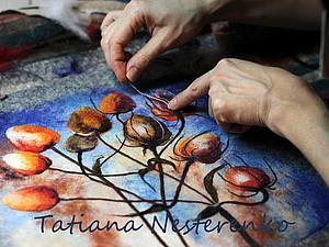 Мастер класс по мокрому валянию косметички с акварельным рисунком   Ярмарка Мастеров - ручная работа, handmade