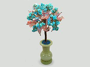 Добавлено новое изделие: Семейное дерево из бирюзы и халцедона в вазочке из оникса | Ярмарка Мастеров - ручная работа, handmade